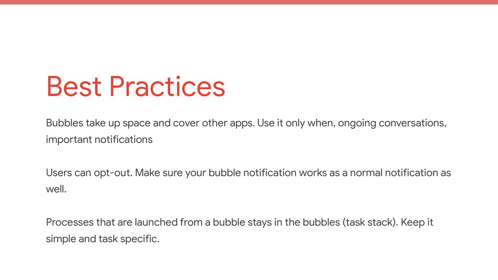 Best Practices Bubbles take up space and cover ...
