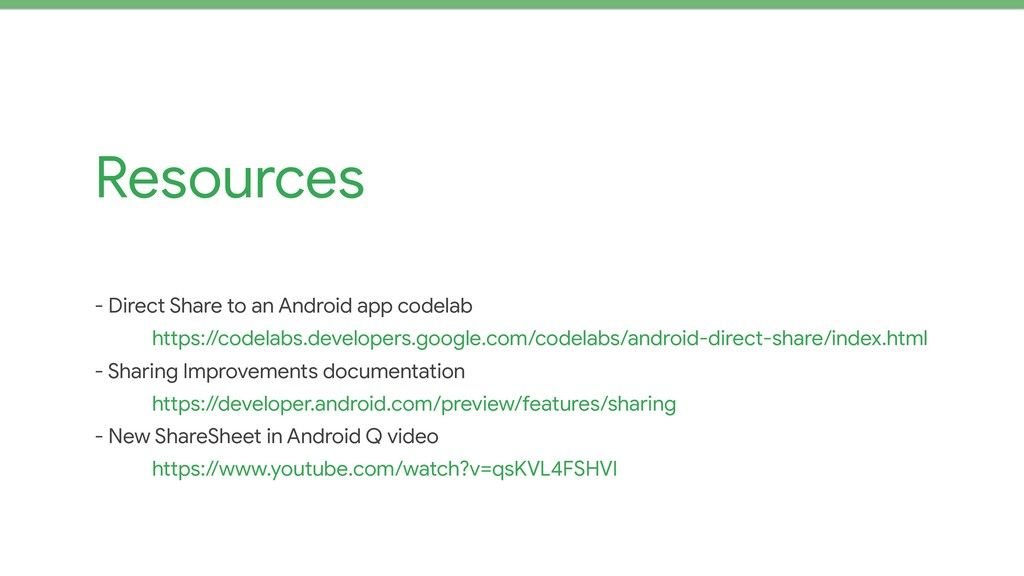 Resources - Direct Share to an Android app code...