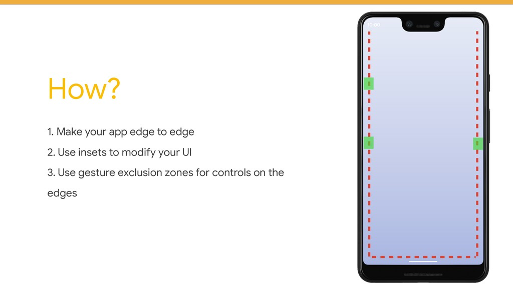 1. Make your app edge to edge 2. Use insets to ...
