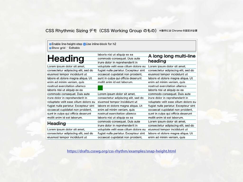 CSS Rhythmic Sizing デモ(CSS Working Group のもの)*動...