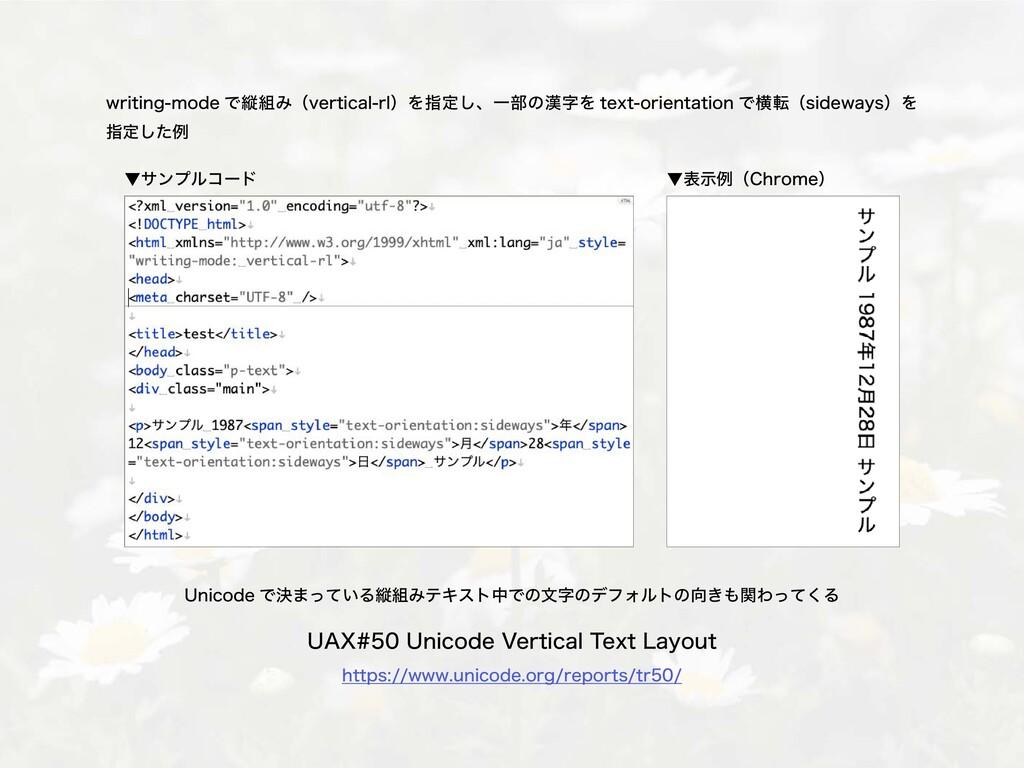 ▼サンプルコード ▼表示例(Chrome) writing-mode で縦組み(vertica...