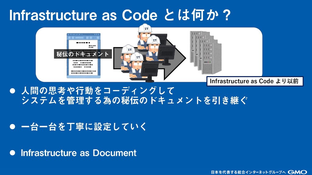 ⚫ ⚫ ⚫ Infrastructure as Code より以前