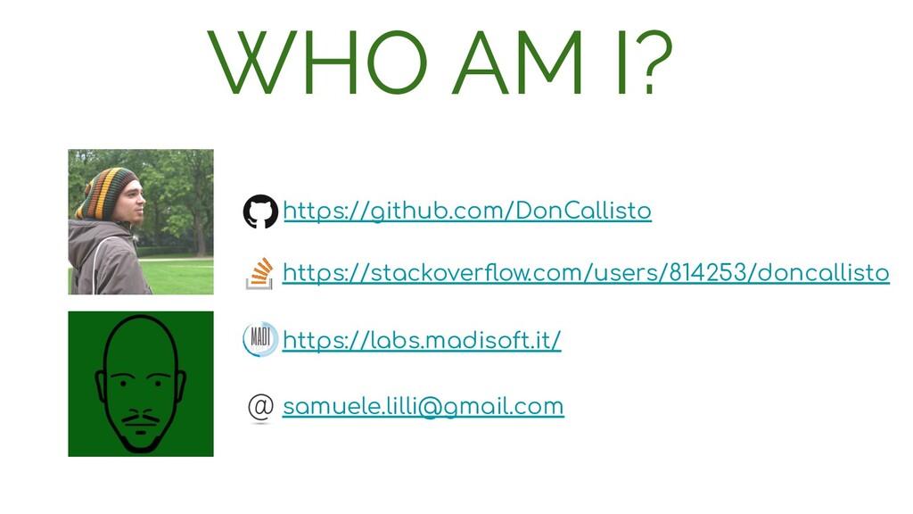 WHO AM I? https://github.com/DonCallisto https:...