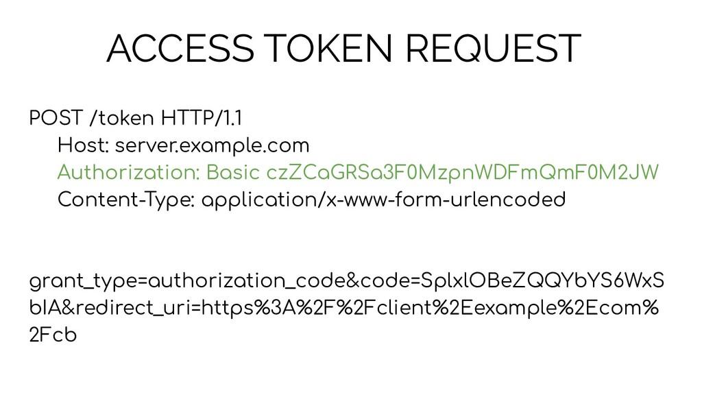 ACCESS TOKEN REQUEST POST /token HTTP/1.1 Host:...