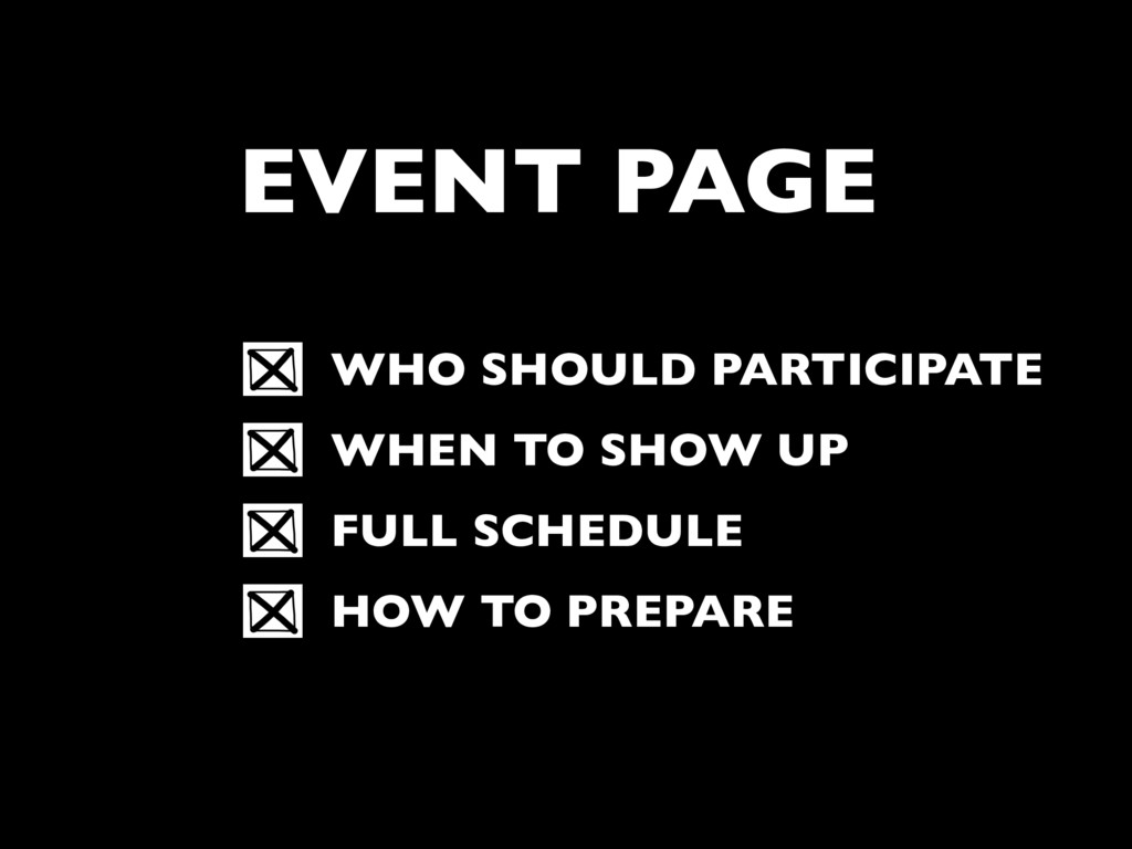 EVENT PAGE WHO SHOULD PARTICIPATE WHEN TO SHOW ...