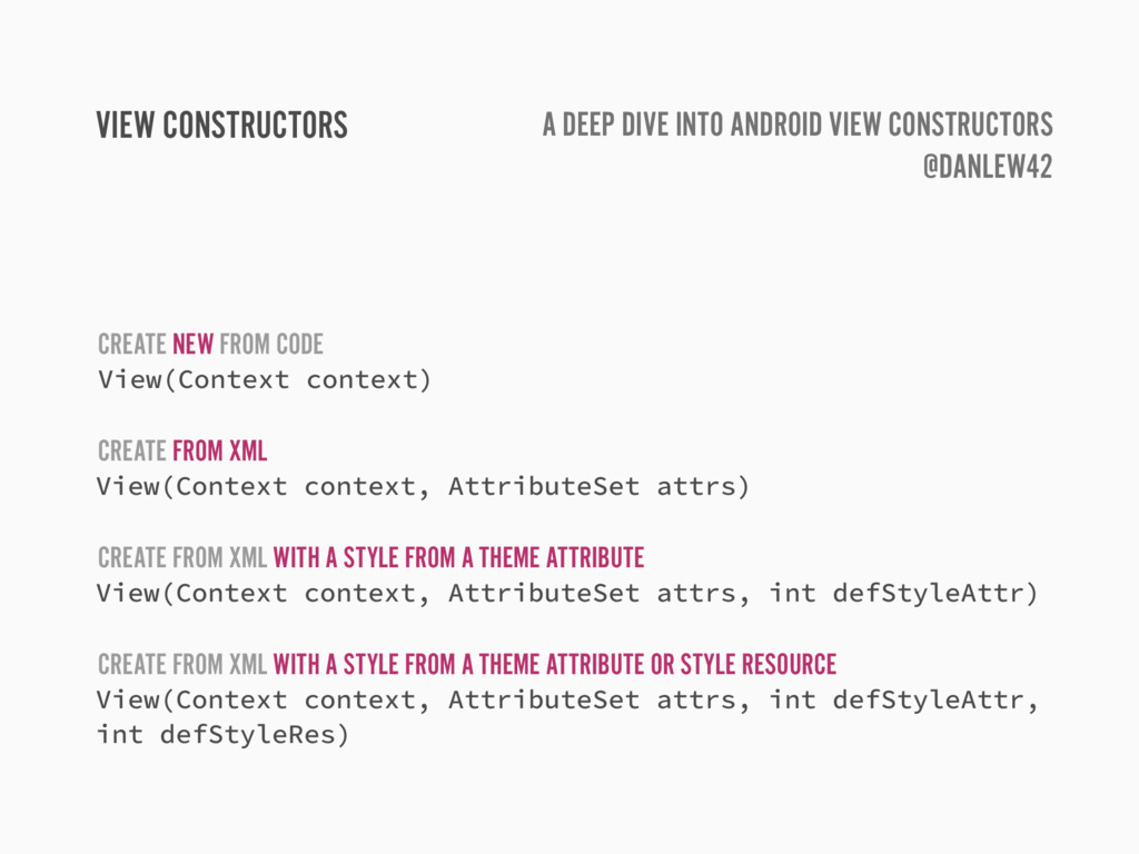 VIEW CONSTRUCTORS CREATE NEW FROM CODE View(Con...