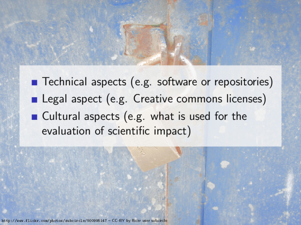 Technical aspects (e.g. software or repositorie...
