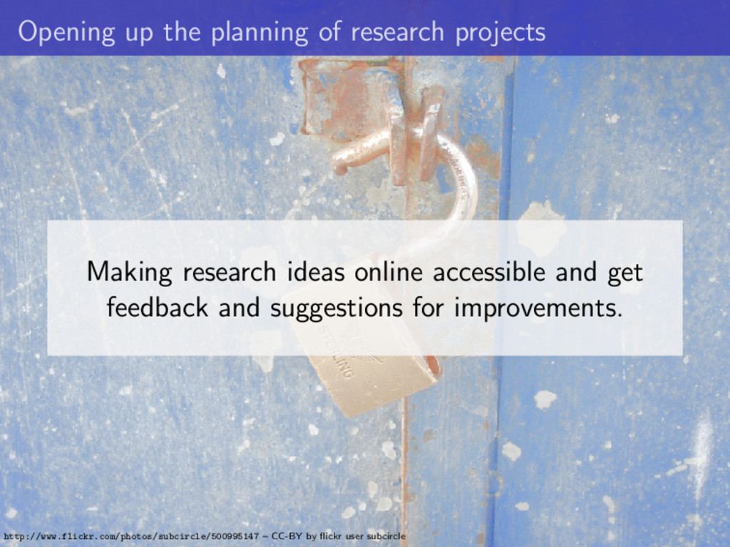 Opening up the planning of research projects Ma...