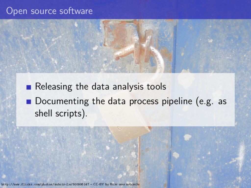 Open source software Releasing the data analysi...