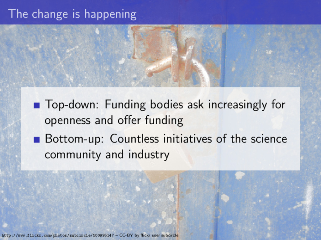 The change is happening Top-down: Funding bodie...