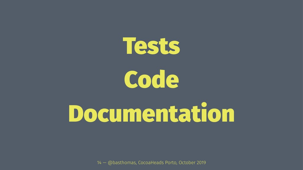Tests Code Documentation 14 — @basthomas, Cocoa...