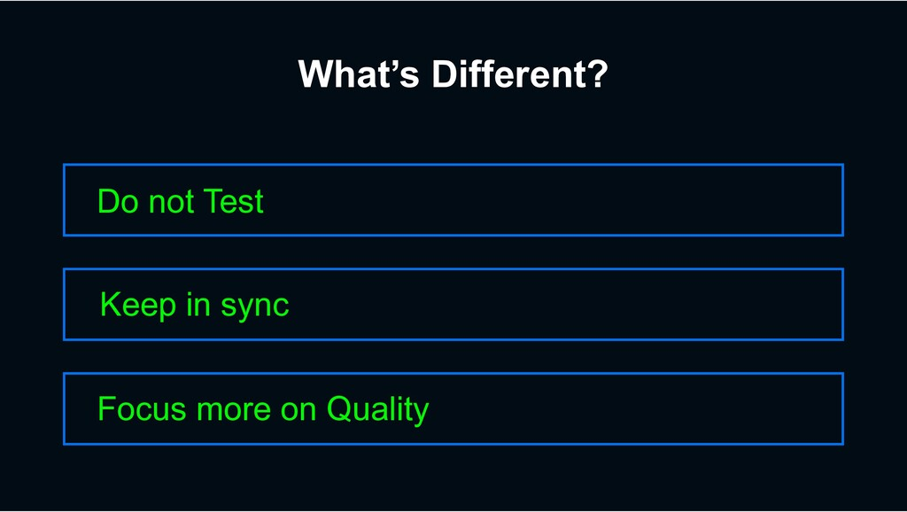 What's Different? Do not Test Focus more on Qua...