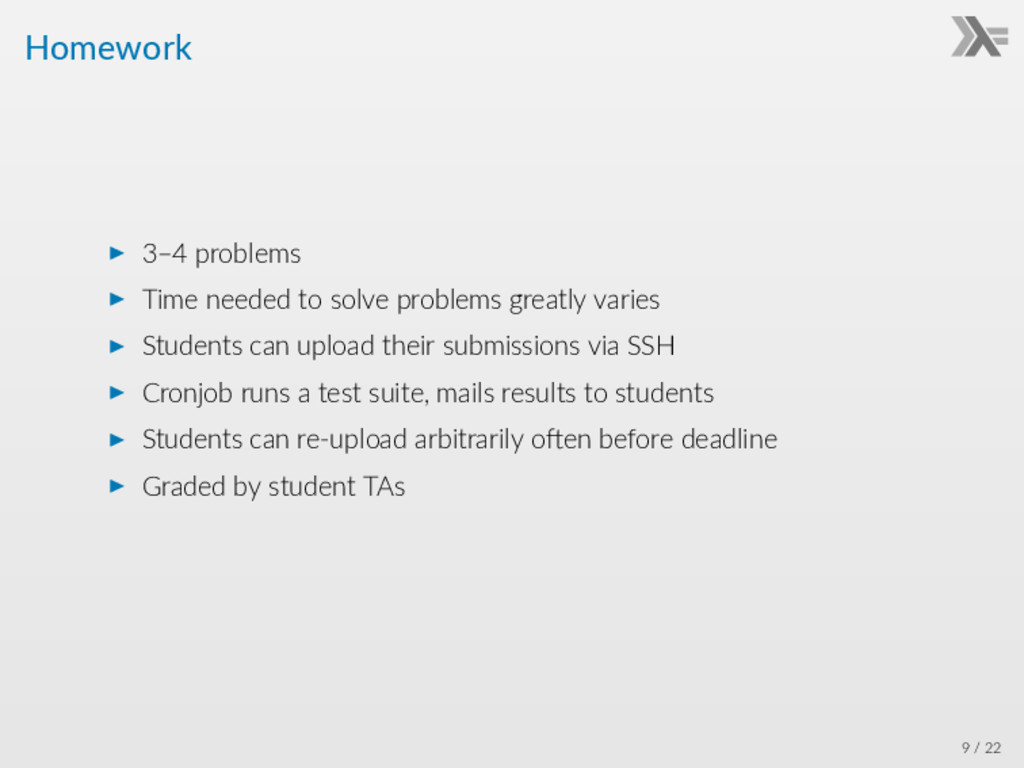 Homework ▶ 3–4 problems ▶ Time needed to solve ...