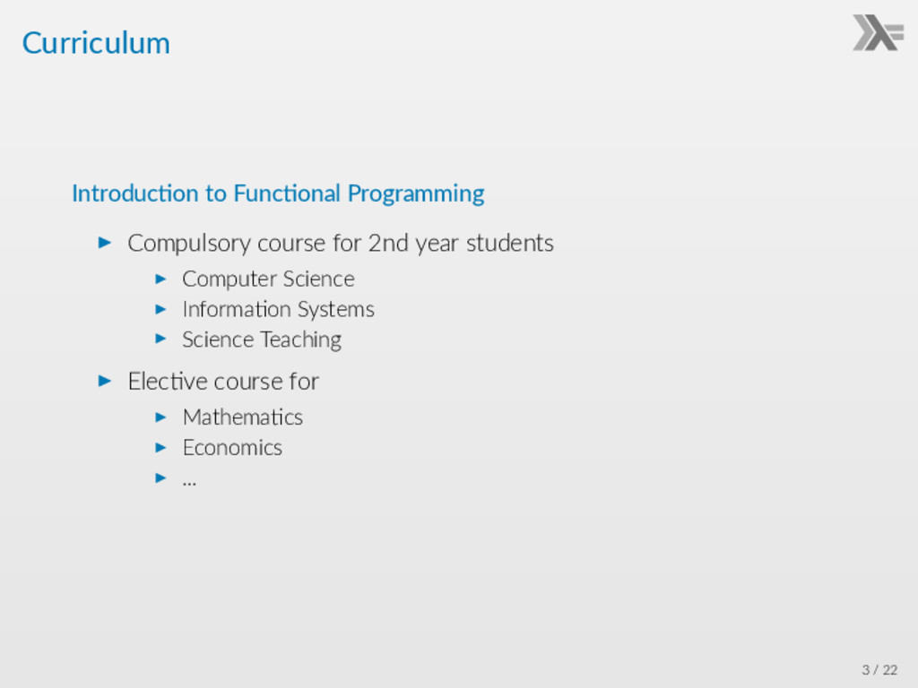 Curriculum Introduc on to Func onal Programming...