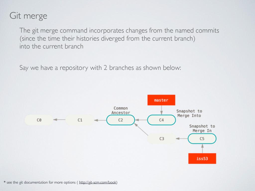 Git merge The git merge command incorporates ch...