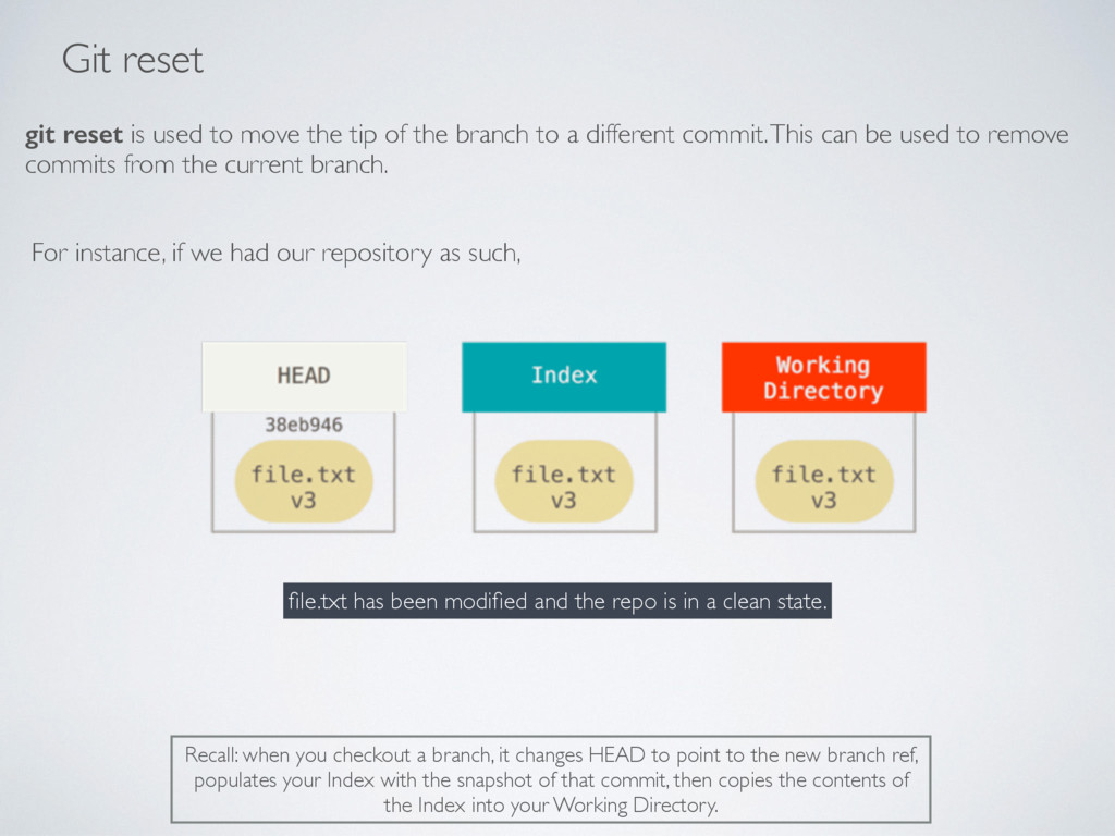 Git reset git reset is used to move the tip of ...