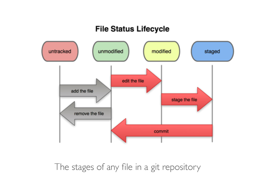 The stages of any file in a git repository