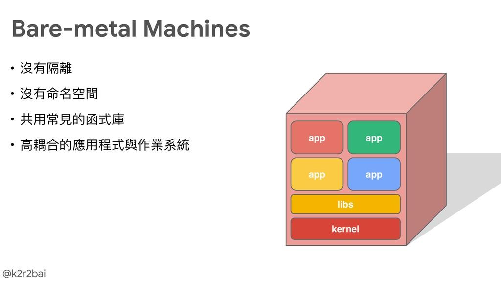 @k2r2bai • 沒有隔離  • 沒有命名空間  • 共⽤用常⾒見見的函式庫  • ⾼高耦...