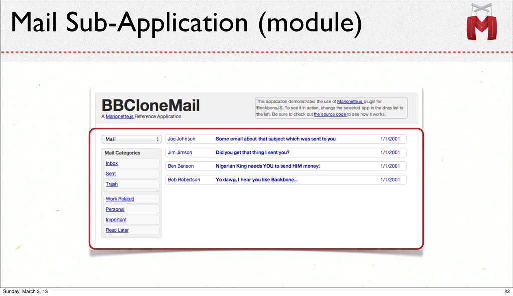 Mail Sub-Application (module) 22 Sunday, March ...