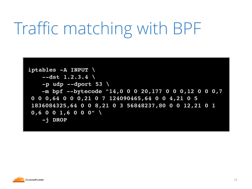 Traffic matching with BPF 24 ! iptables -A INPUT ...