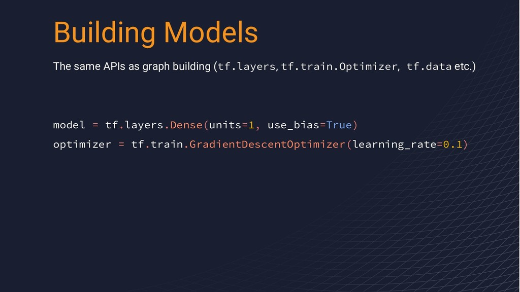The same APIs as graph building (tf.layers, tf....