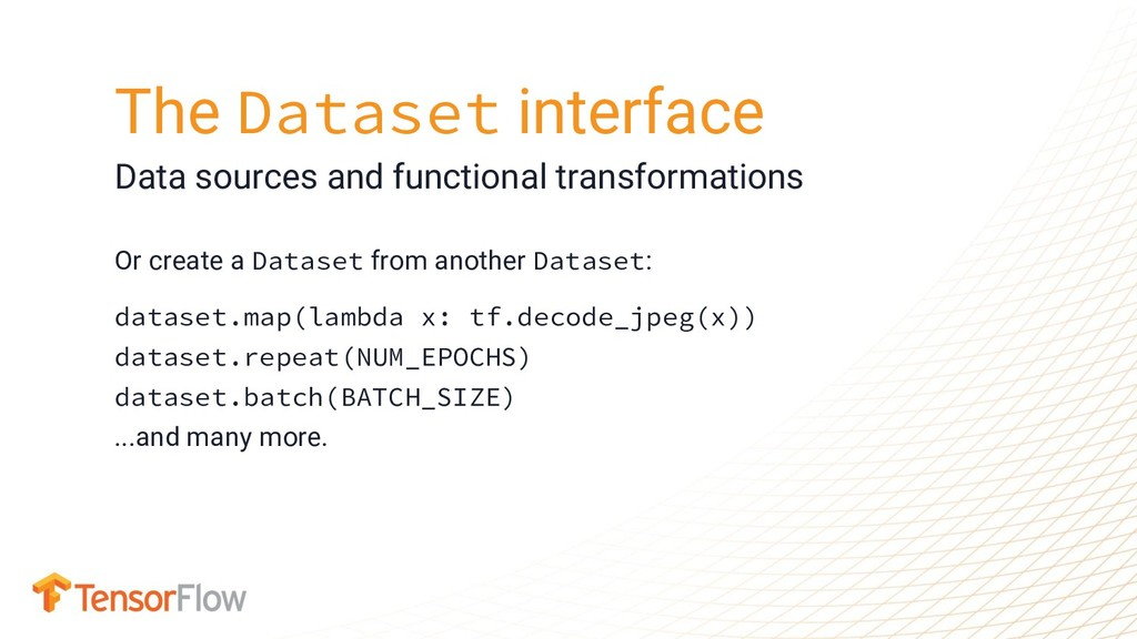 Or create a Dataset from another Dataset: datas...