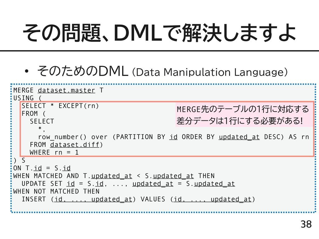 → !38 MERGE dataset.master T USING ( SELECT * E...