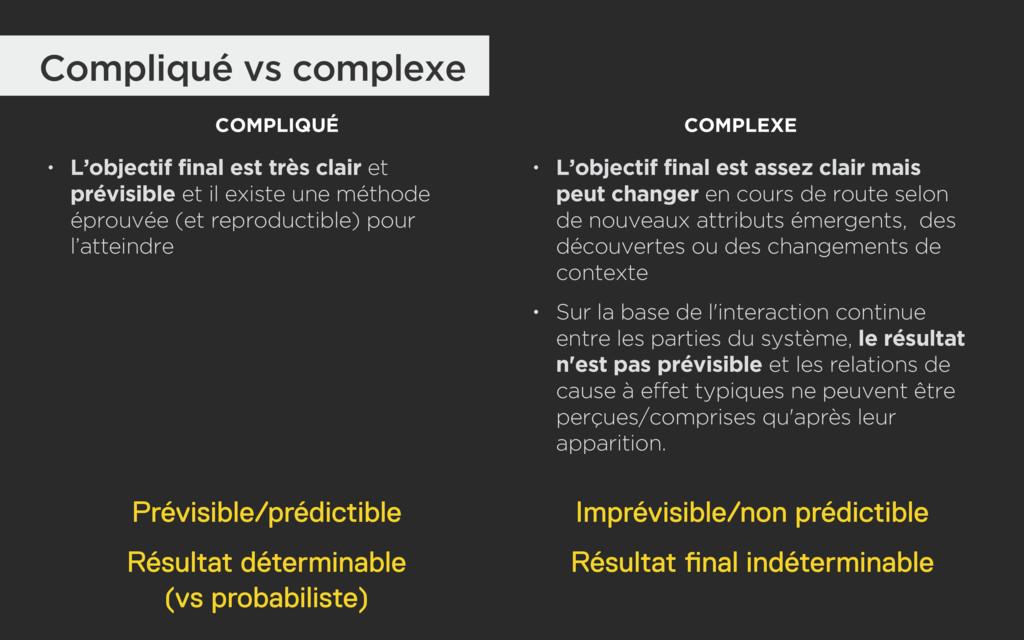 Compliqué vs complexe COMPLIQUÉ COMPLEXE • L'ob...