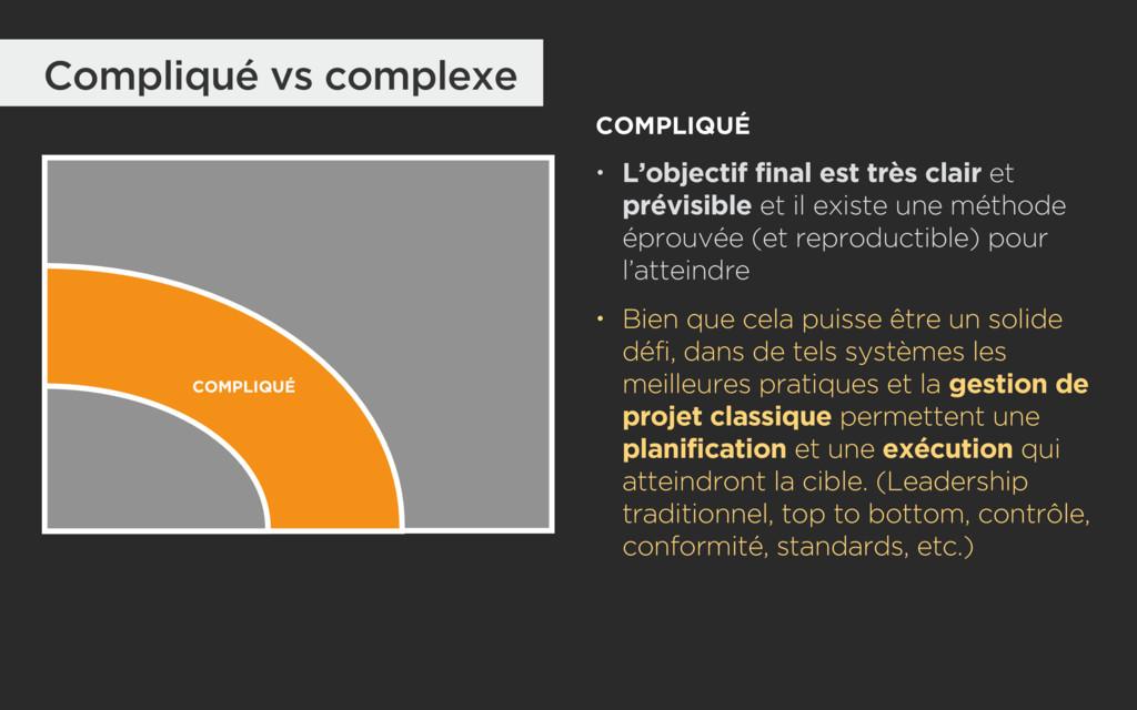 Compliqué vs complexe COMPLIQUÉ COMPLIQUÉ • L'o...