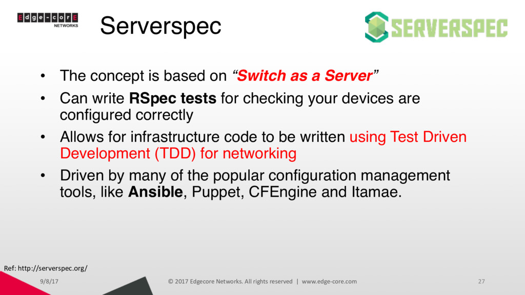 "Serverspec • The concept is based on ""Switch as..."