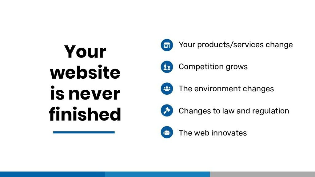 Your website is never finished Your products/se...