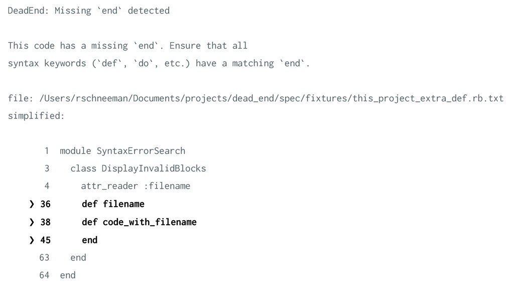 DeadEnd: Missing `end` detected   This code has...