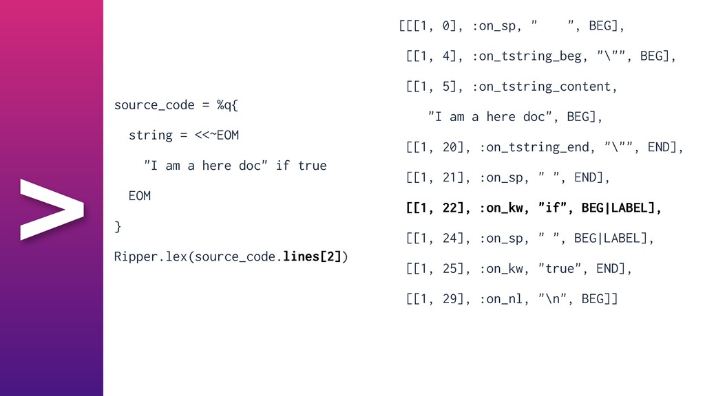 """> [[[1, 0], :on_sp, """" """", BEG],   [[1, 4], :on_t..."""
