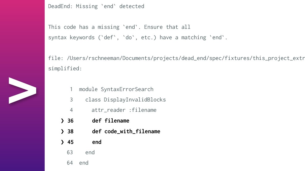 > DeadEnd: Missing `end` detected   This code h...