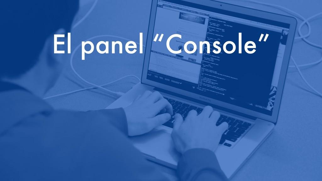 """El panel """"Console"""""""
