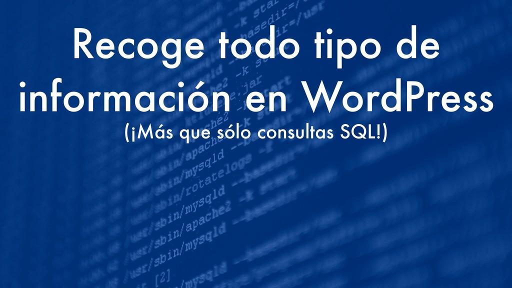 Recoge todo tipo de información en WordPress (¡...