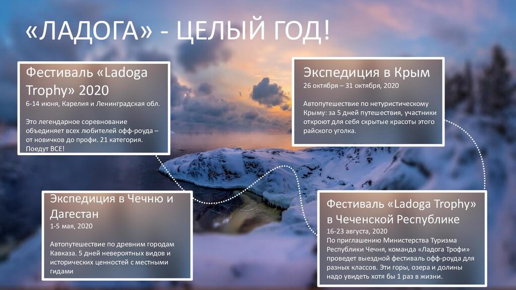 «ЛАДОГА» - ЦЕЛЫЙ ГОД! Фестиваль «Ladoga Trophy»...