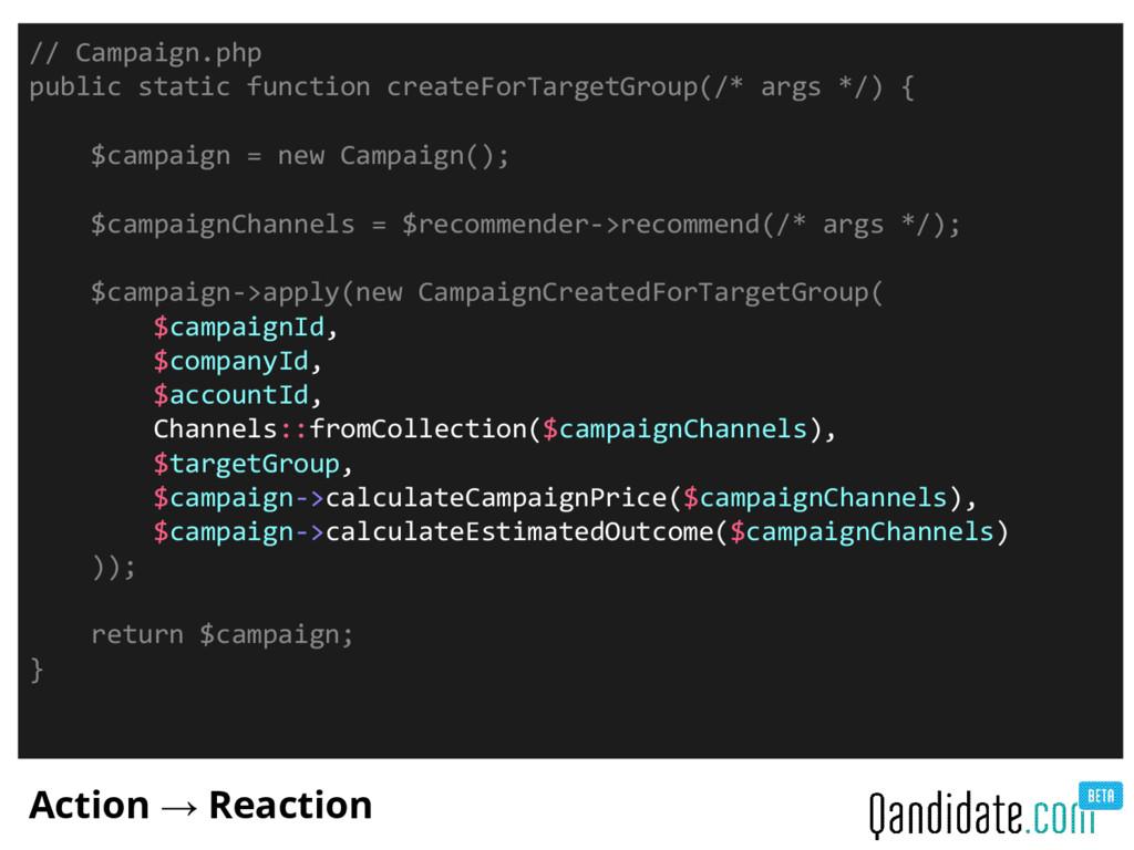Action → Reaction // Campaign.php public static...