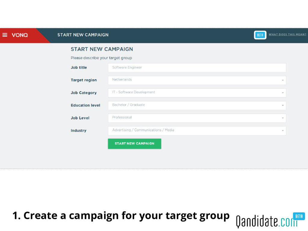 1. Create a campaign for your target group