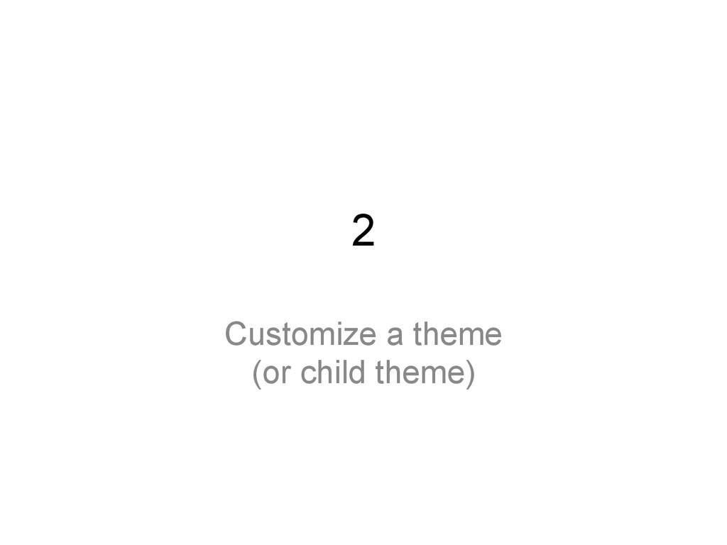 2 Customize a theme (or child theme)