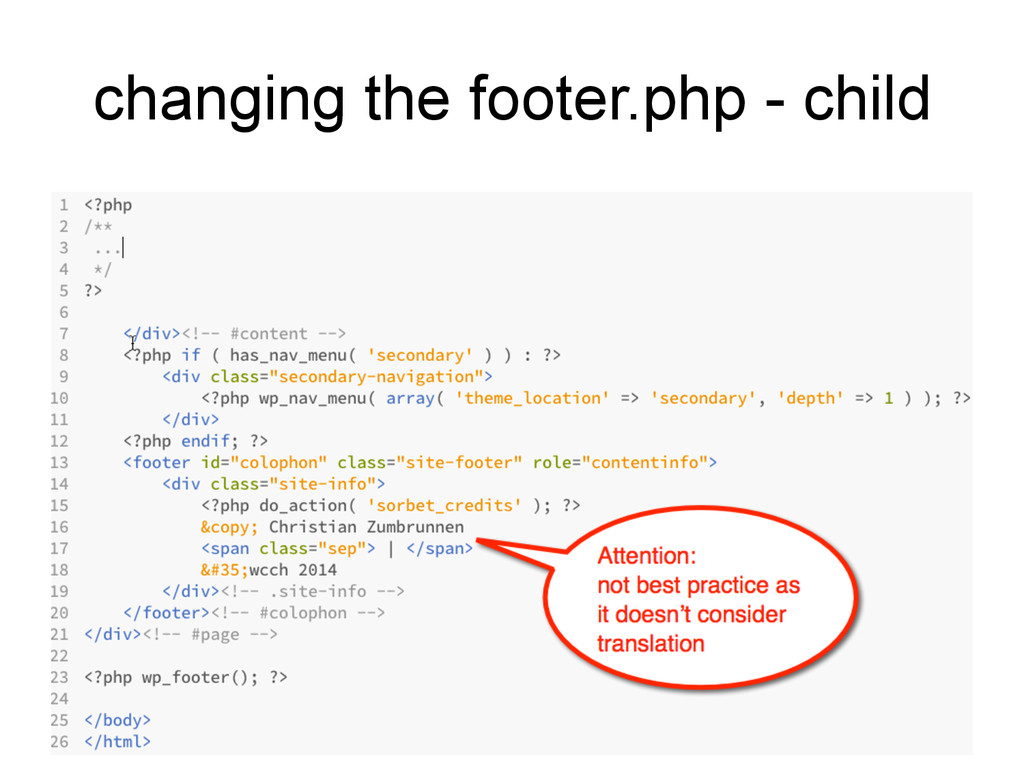 changing the footer.php - child