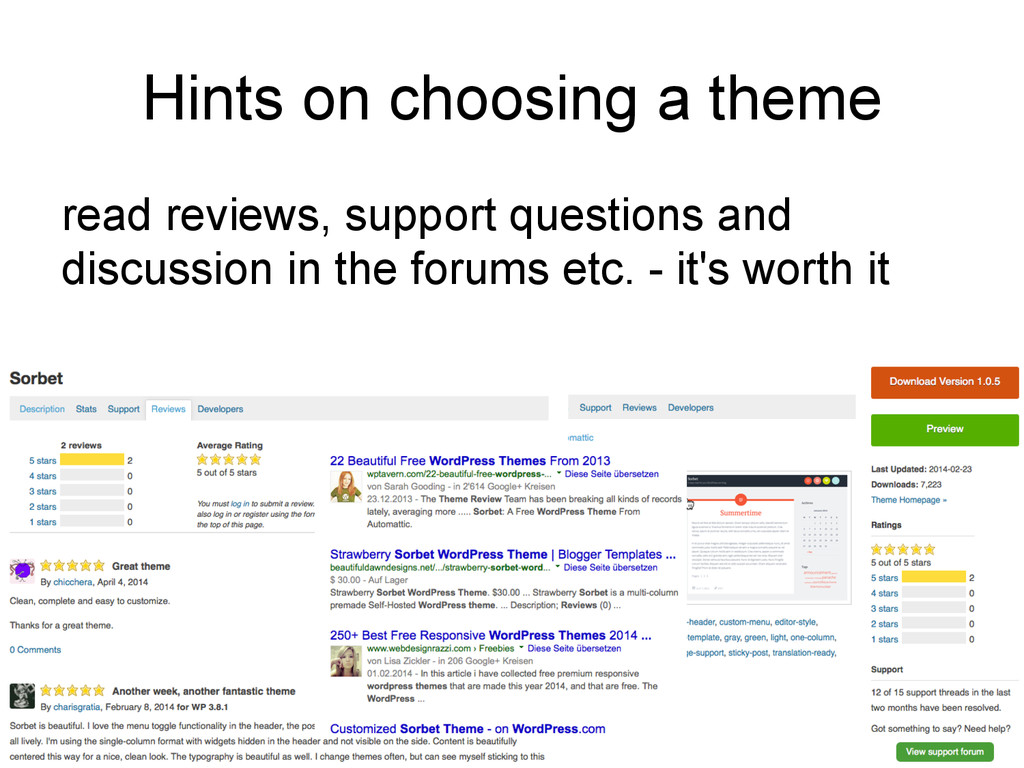 Hints on choosing a theme read reviews, support...