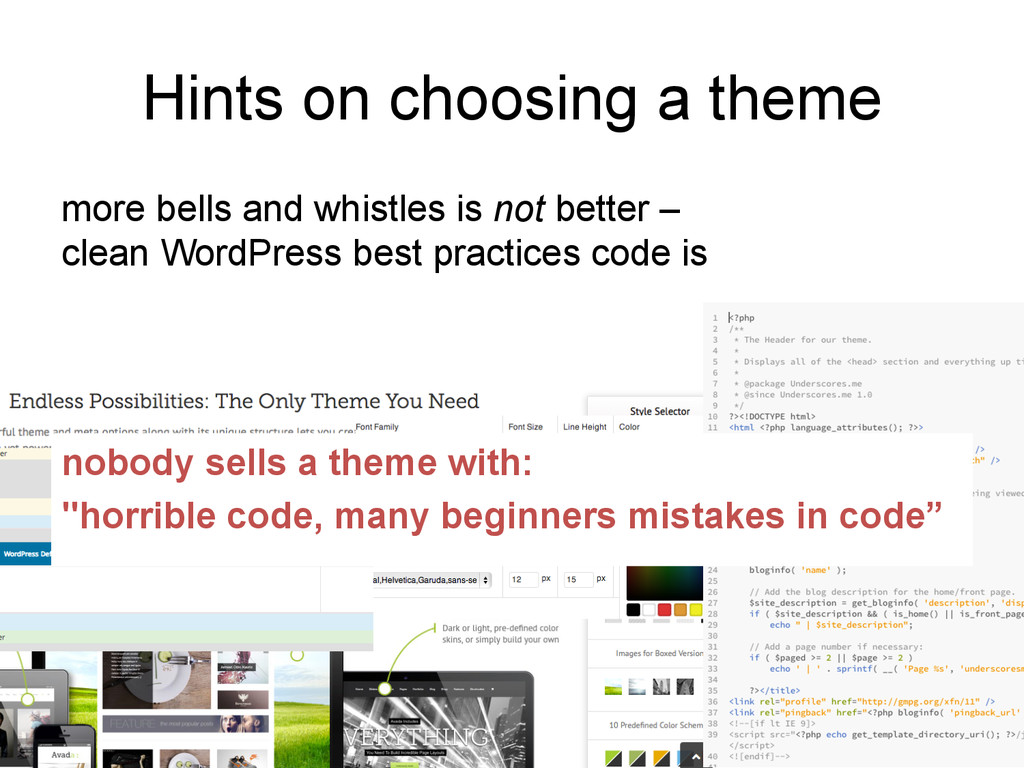 Hints on choosing a theme more bells and whistl...