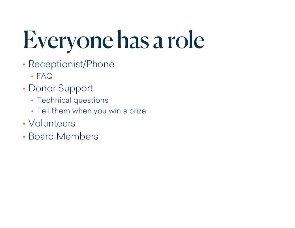 Everyone has a role • Receptionist/Phone • FAQ ...