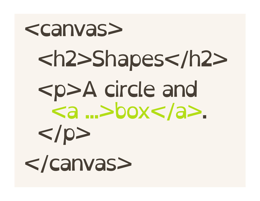 <canvas> <h2>Shapes</h2> <p>A circle and <a ......