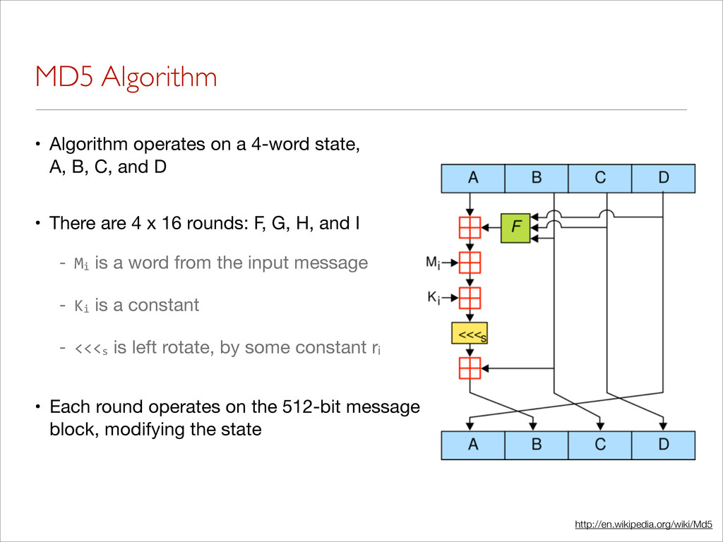 MD5 Algorithm • Algorithm operates on a 4-word ...