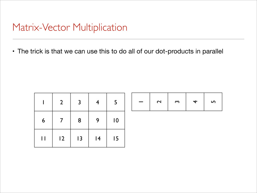 Matrix-Vector Multiplication • The trick is tha...