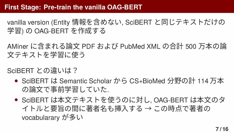 First Stage: Pre-train the vanilla OAG-BERT van...