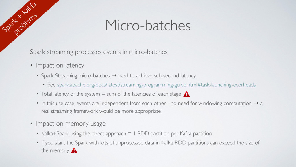 Micro-batches Spark streaming processes events ...