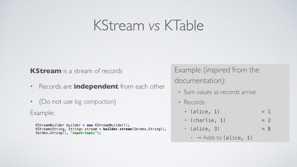 KStream vs KTable KStream is a stream of record...